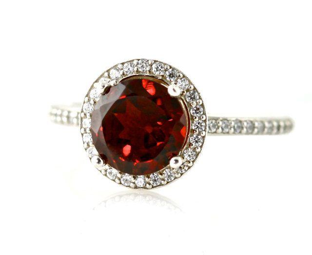 14K Red Garnet Ring Diamond Halo Engagement Ring January Birthstone Ring Custom Bridal Jewelry. via Etsy. love!