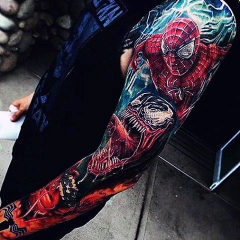 Gory spiderman tattoo male full sleeves designs full and for Spiderman tattoo arm