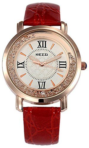 Kezzi Womens Ladies Wrist Watch K747 Quartz Analog Dress Leather Fashion Casual Gifts Watches Luxury Red >>> Check this awesome product by going to the link at the image.
