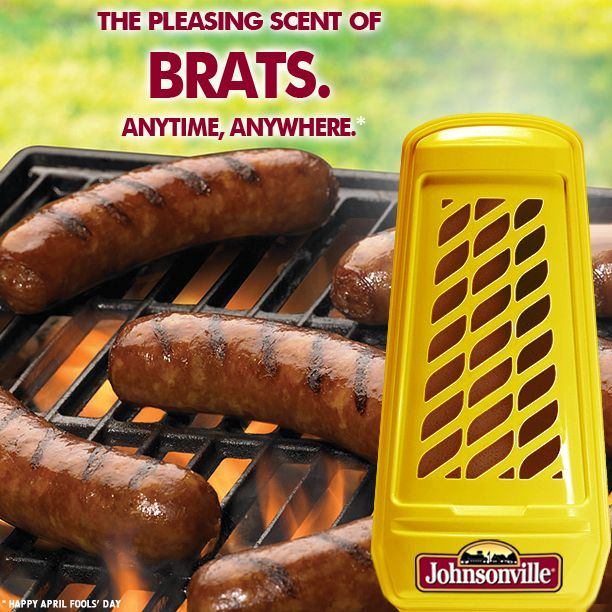 Brat-scented Air Freshener! Now enjoy the smell of grilling Johnsonvilles in your home, office or car! #ifonly #AprilFools #sausage