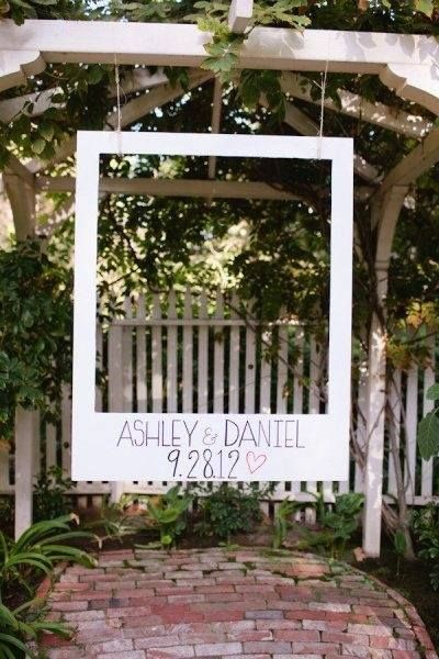 Wedding ideas, instead of paying for a photo booth make one of these bad boys out of wood, string, and paint...