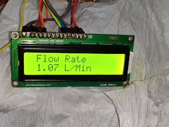 Water Flow Sensor Measure On Display On 16x2 Lcd Hackster Io Arduino Sensors Arduino Water Flow