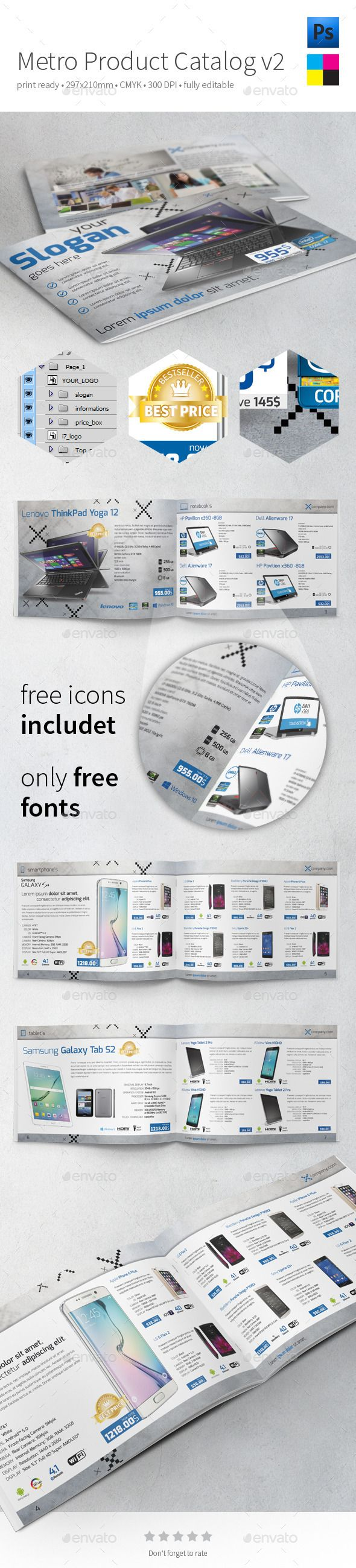 Metro Product Catalog v2 by buttonpl Clean, metro style, A4 product catalogue. FEATURES print size: 297210 mm 300 dpi file format: psd only FREE font used: Exo (more