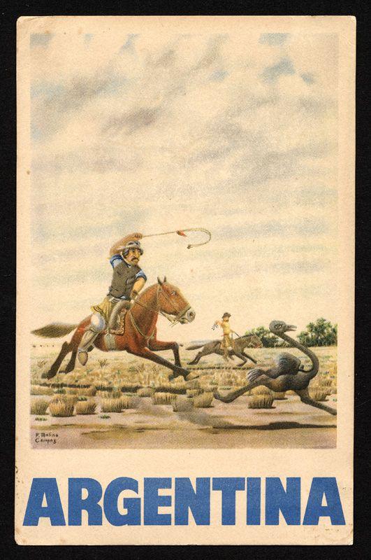 Argentina cazando avestruces, The ostrich chase (Argentina), Molina Campos, F. (artist), Panamerican-Grace Airways, Inc., circa 1950s. #argentina #postcard