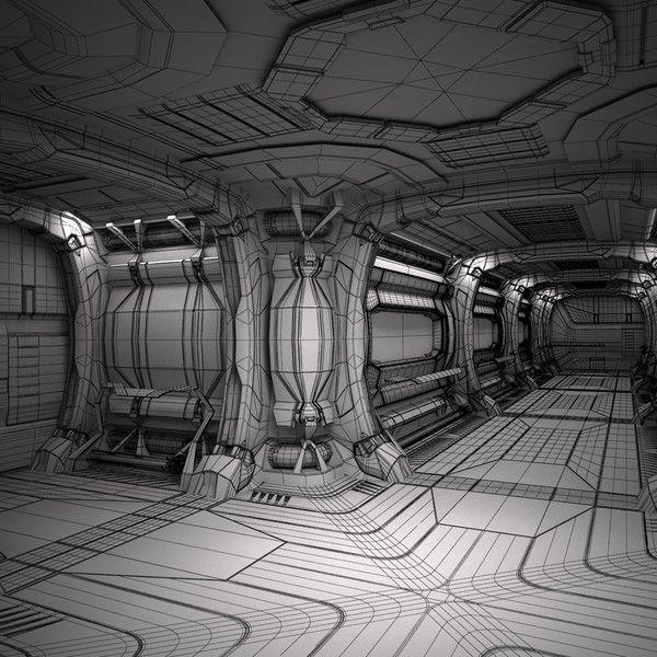 sci fi spaceship corridor max - Sci-Fi Spaceship Corridor 05... by cermaka