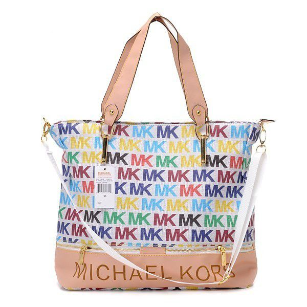 Michael Kors Classic Monogram Large White Multicolor Totes Outlet