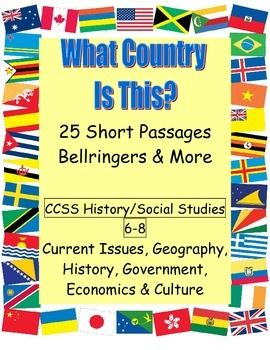 High-interest paragraphs about 25 countries that cover geography, economics, history and current issues, with 2-3 questions per passage. No-prep for bell work, enrichment, centers, homework, extra credit, early finishers, and more. Use to supplement your curriculum-specific activities in World History, U.S. History or Government; as part of a geography unit; for a study of current issues; or in an ELA class for informational text. Includes separate vocabulary worksheets for over 90 social…