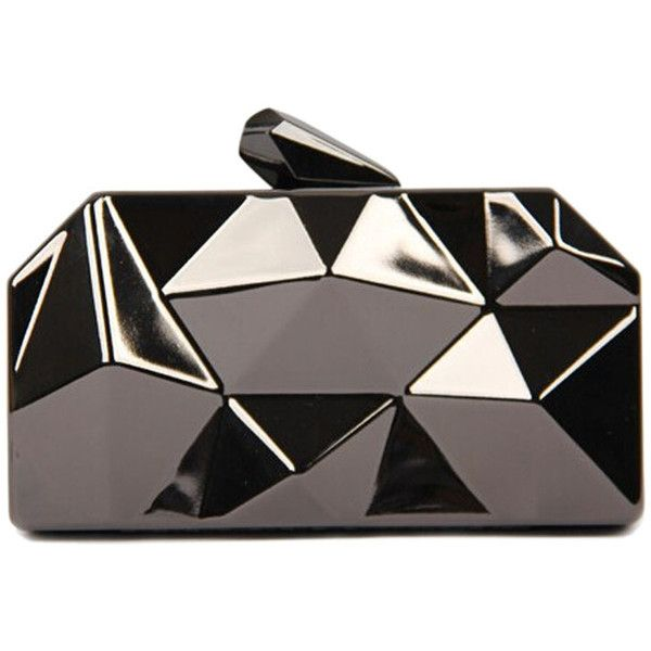 WithChic Gray Irregular Geometrical Metallic Box Clutch Bag found on Polyvore featuring bags, handbags, clutches, purses, metallic clutches, grey clutches, geometric purse, hand bags and hard clutch