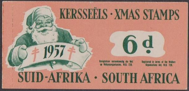 SA Christmas Stamps 1957 Booklet Of 6d - 6 Stamps