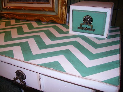 DIY Chevron Desk. i want my desk to look like this. but with purple and that blue color i already did...