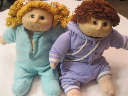 Cabbage-Patch-M-N-Thomas-Doll-lot-of-2-1984-Ponytail-Cutie-Vintage-Boy-Girl