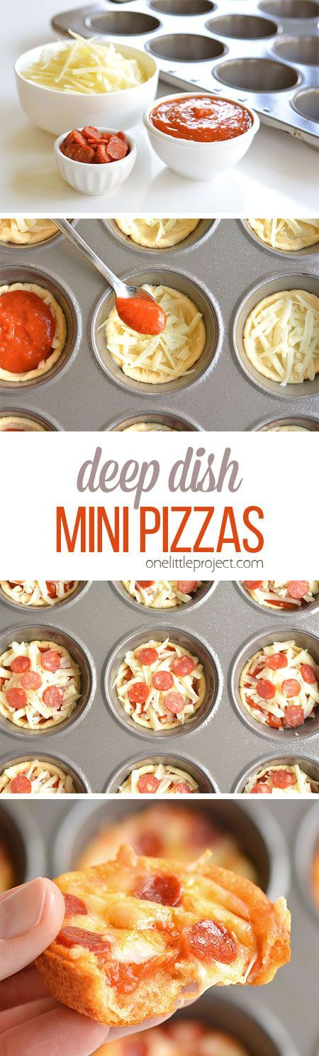 Deep Dish Mini Pizzas Recipe via One Little Project - These deep dish mini pizzas are so easy to make and they TASTE AMAZING!! They make a great lunch, dinner or you could even serve them as an appetizer! #christmas_lunch_recipes