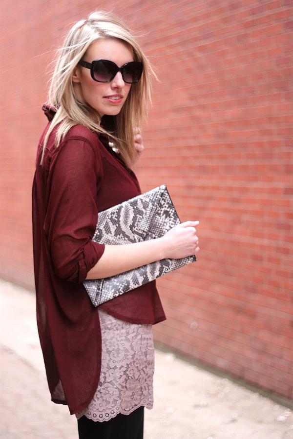 bordeaux & blush: Burgundy Top, Lace Skirt