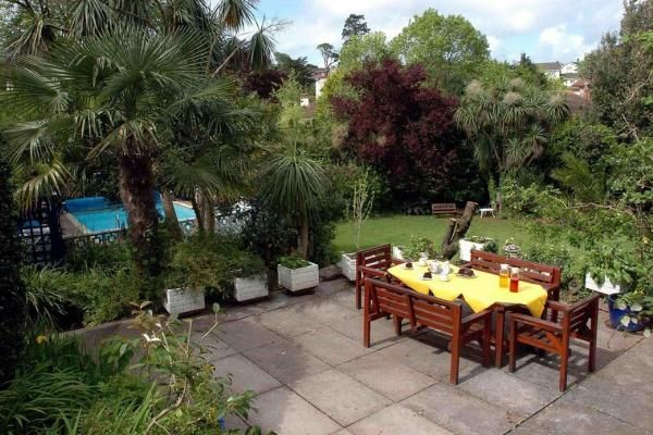 Relaxing pool and patio area at stunning Edwardian B&B inTorquay. www.iknow-devon.co.uk
