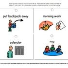 Visual Schedules designed to hang on a hook so that the student sees the schedule piece one at a time....