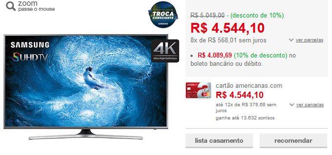 "Smart TV Nano Cristal 50"" Samsung 50JS7200 SUHD 4K 4 HDMI 3 USB Wi-Fi Função Games Quad Core >"