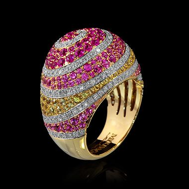 Mousson atelier, collection Caramel - Spiral, ring, Yellow gold 750, Pink sapphire , Yellow sapphires, Diamonds