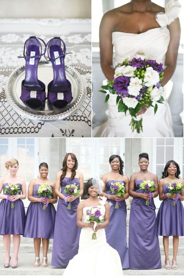 Elegant purple: Braids Maids Dresses, Purple Shoes, Purple Bridesmaid Dresses, Spring Colors, Purple Palette, Spring Wedding, Purple Wedding, Bouquets Ideas, Bridesmaid Dresses Colors