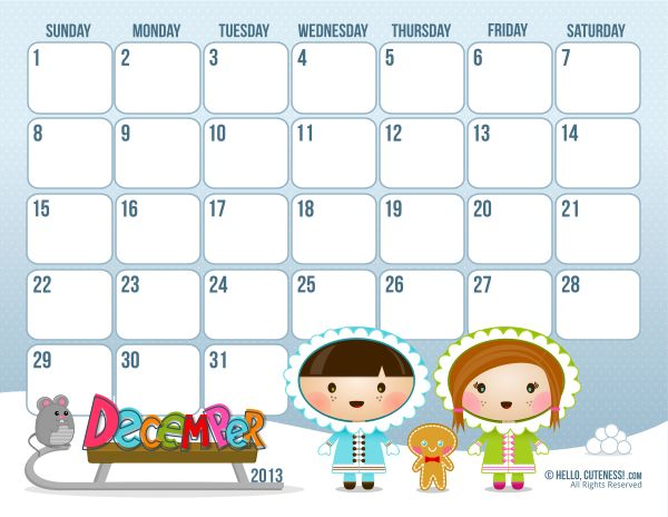 hellocuteness.com-free-version-December-2013-calendar-Thru the month only- Click on the download link under image- pdf comes up- save as!