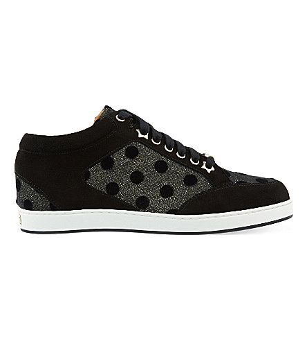 JIMMY CHOO Miami Leather And Fine Glitter Trainers. #jimmychoo #shoes #trainers