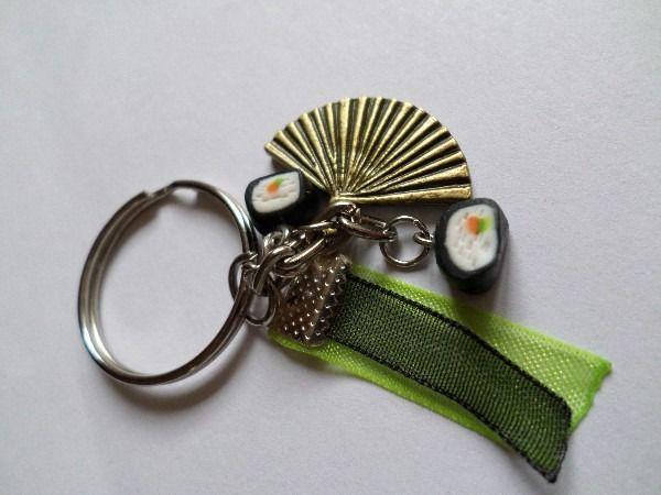 Porte-clé sushi et éventail japonais en Fimo