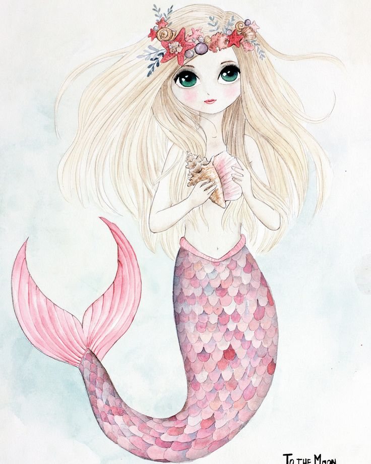 Mermaid. Watercolor poster for girls rooms. Limited edition. tothemoonposters.com