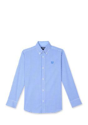 Chaps Scotsdale Blue Gingham Woven Button-Front Shirt Boys 4-7