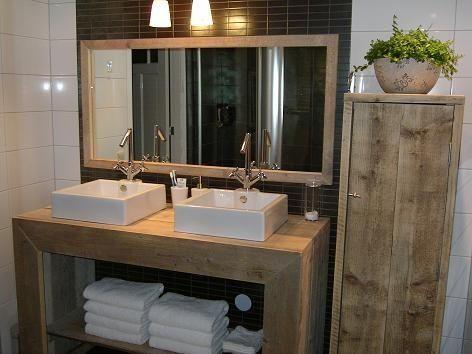 Badkamer meubel recht van steigerhout 131404076bd badkamermeubels jorg s houten meubelen - Deco toilet ideeen ...