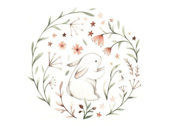Floral Bunny Wooden Magnet Cute decoration for a by NinaStajner
