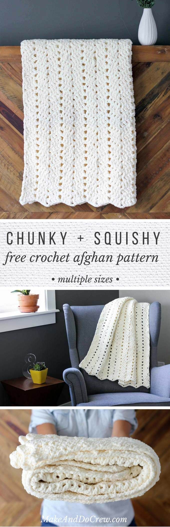 This free chunky crochet blanket pattern makes a perfect timeless baby gift, but once you feel how soft it is, there's no way you won't want to make one for yourself too! The pattern explains how to make larger sizes and it works up super quickly in bulky Bernat Blanket Yarn. Great pattern for beginners--looks fancy, but isn't hard to figure out!