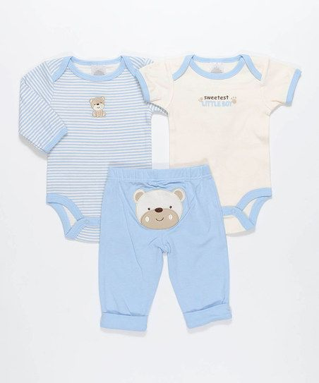 Cutie Pie Baby Blue Sweetest Little Boy Bear Bodysuit Set | zulily