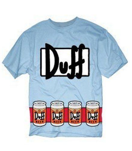 The Simpsons Duffman Costume Beer Belt Print Sky Blue Adult T-shirt Tee (Adult XXX-Large)