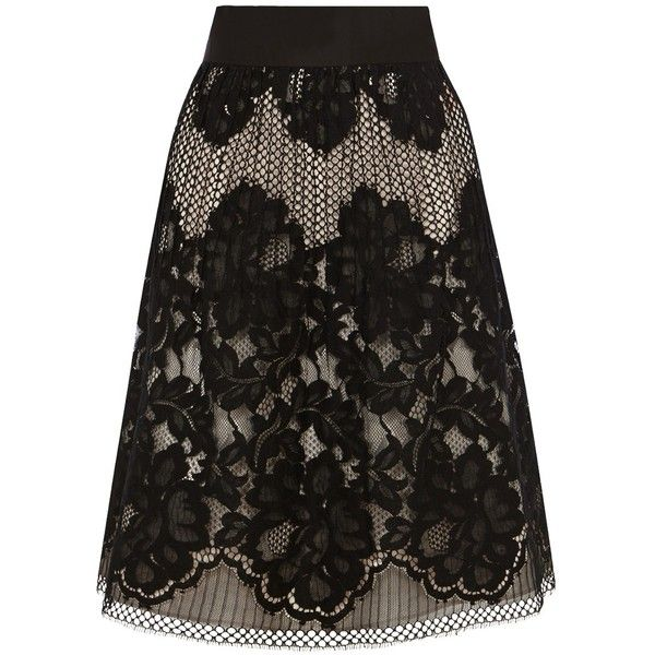 Coast Fantasia Lace Skirt, Black ($110) ❤ liked on Polyvore featuring skirts, lacy skirt, knee length lace skirt, embroidered skirt, lace skirt and coast skirts