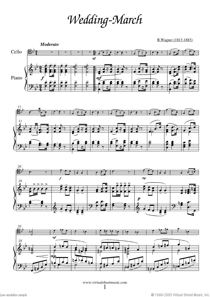 Wedding Sheet Music For Cello And Piano Organ