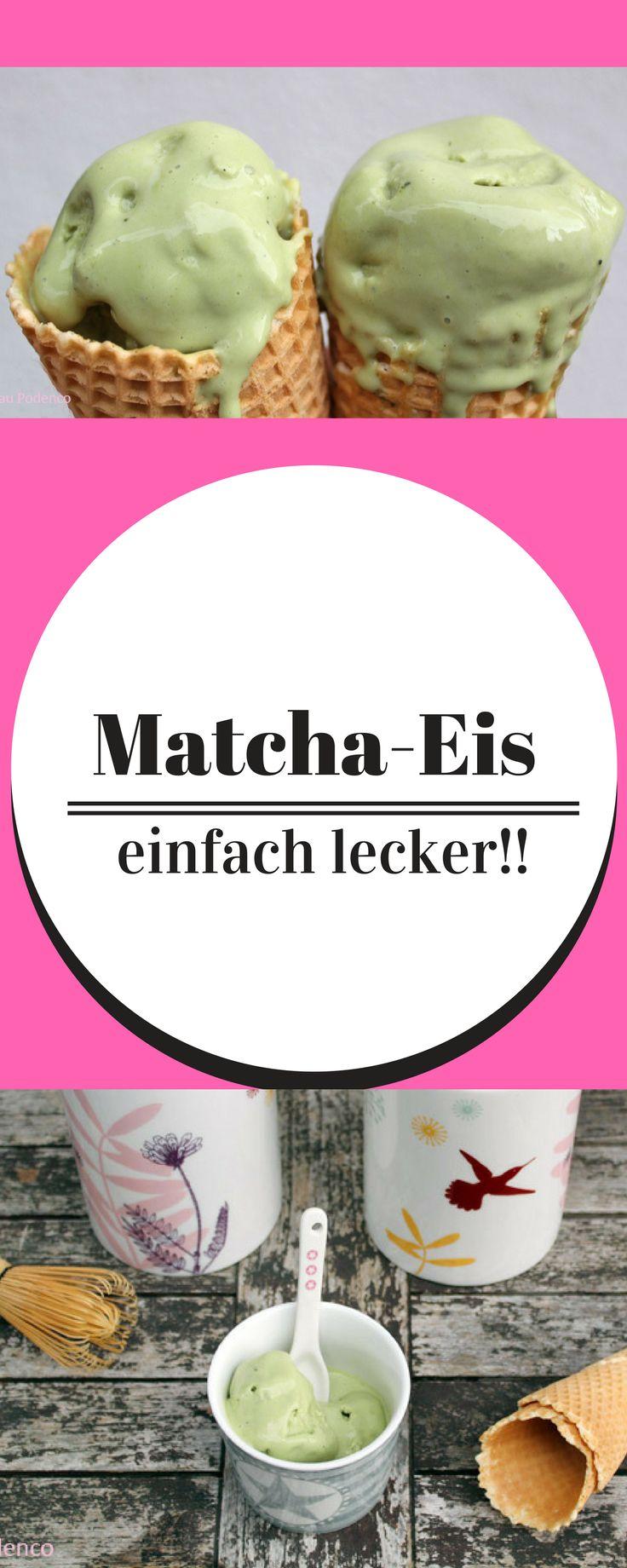 Matcha-Eis ist ein super leckeres Eis, das dazu noch sehr schnell und einfach selbst gemacht ist.  Eis selber machen  Eis ohne Eismaschine   Eis Rezept   Grüner Tee Eis   Matchapulver
