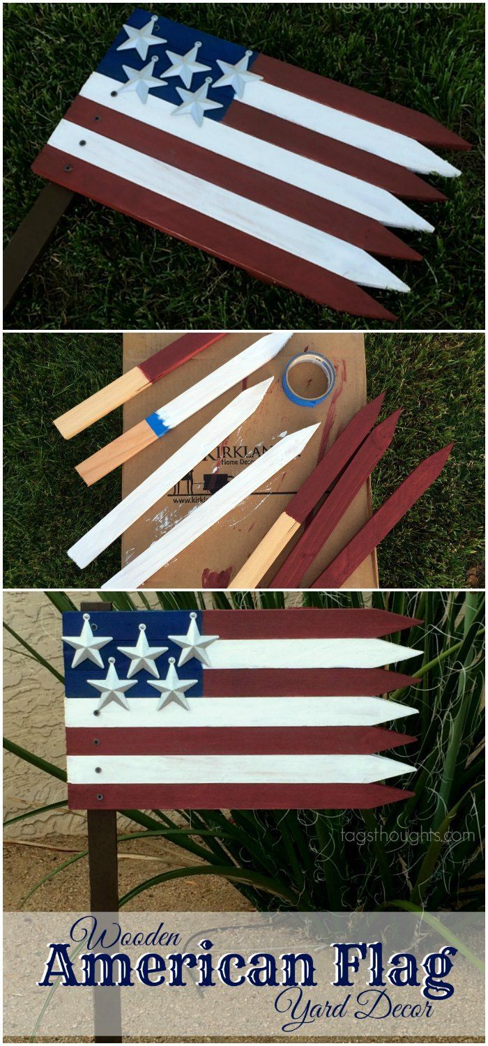 Wooden American Flag Patriotic Yard D 233 Cor Memorial Day Summer And Blue