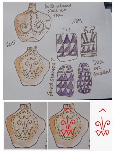 """Schițe ale figurii Zeiţei din cartea Marijei Gimbutas """"The Language of the Goddess"""" (posibil reprezentarea unui vas din ceramică cu ornament pictat sau incizat)"""