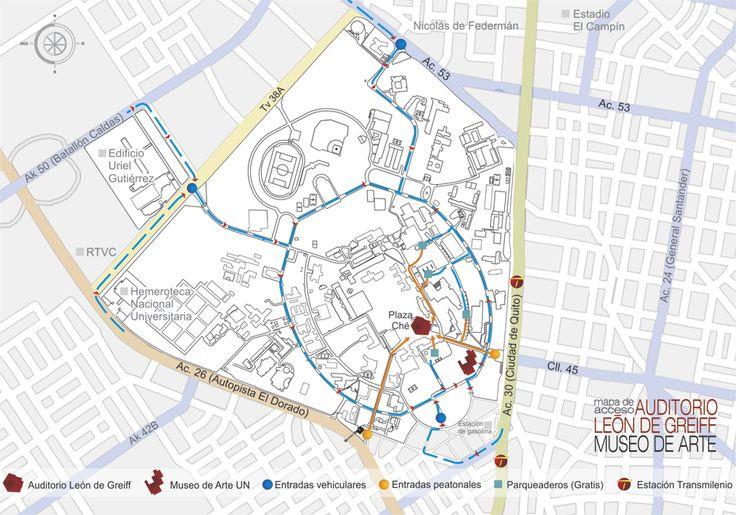 Mapa de ubicación y acceso de #AuditorioLeóndeGreiff y #MuseodeArteUN en la ciudad universitaria. Bogota, Colombia.
