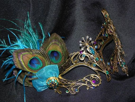 Peacock Metal Masquerade Mask with Turquoise by TheCraftyChemist07