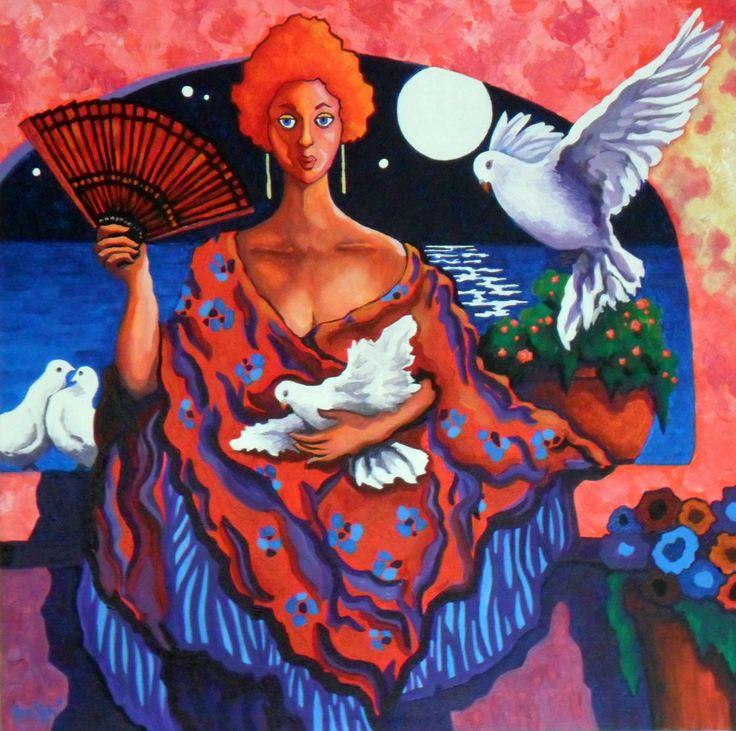 # 368 Dama, baño de luna y tórtolas,   Autor: RomSabi, acrilico sobre tabla madera, 60x60cm