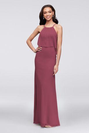 Flounced Crinkle Chiffon Sheath Bridesmaid Dress F19773  8908b6d0f888