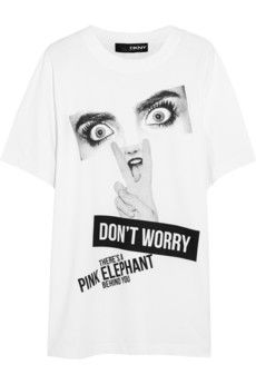 DKNY + Cara Delevingne printed cotton-jersey T-shirt   NET-A-PORTER