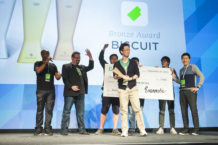EC3 - #EC2013: Evernote Devcup Bronze Award winners, Biscuit, accepting their award