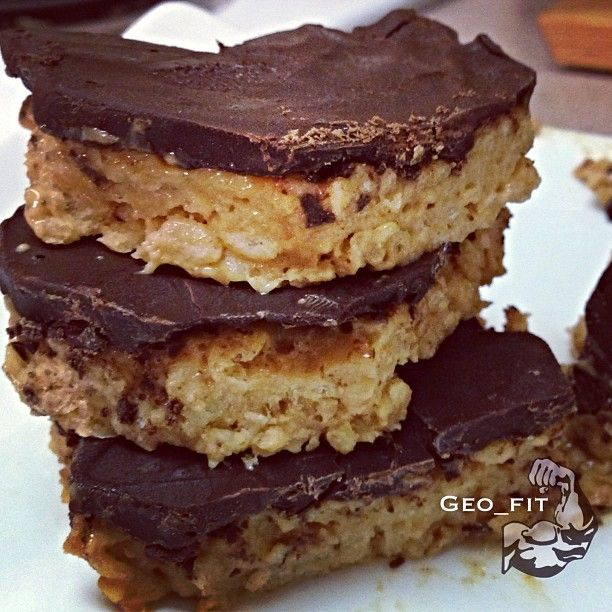 Peanut butter protein rice crispy treats | A. Eat Healthy | Pinterest