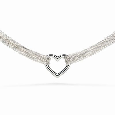 TIFFANY ,TEN ROW HEART TOGGLE NECKLACE