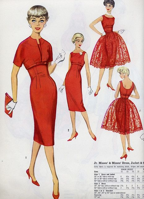 50s 60s red sheath dress wiggle bolero jacket lace overskirt red red red by Millie Motts, via Flickr