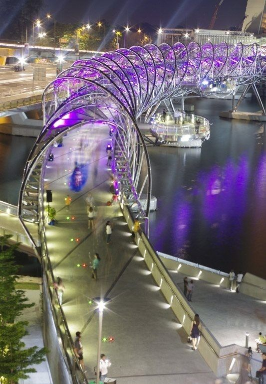 Helix Bridge, known as The DNA Bridge, Marina Bay, Singapore by Cox Group & 61. Canopies Architects
