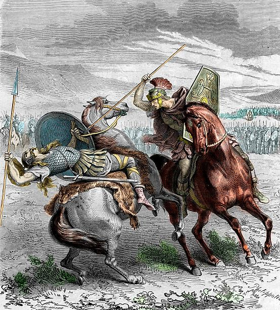 Battle of Clastidium fought in 222 BC between a Roman Republican army led by the Roman consul Marcus Claudius Marcellus and the Insubres led by...