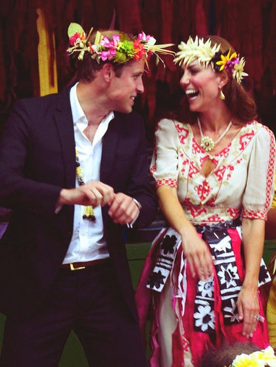 Duke and Duchess of Cambridge dancing while on official visit to the Solomon Islands  as part of the celebration of the Queens Jubilee Year, 2012: