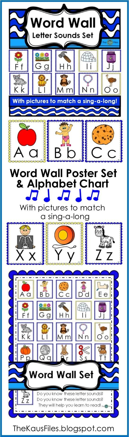 A Word Wall Letter Sounds set of posters and chart to match Barbara Milnes Letter Sounds Song. During Writer's Workshop and Writer's Workshop as well as during guided reading groups and word work centers during the Daily 5 rotations, my students look for